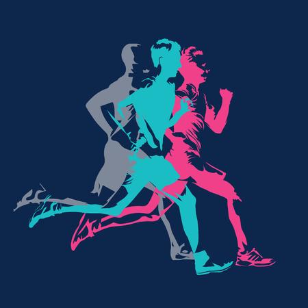 Bieg maratoński, abstrakcyjne kolorowe sylwetki dorosłych biegaczy, plakat wektor