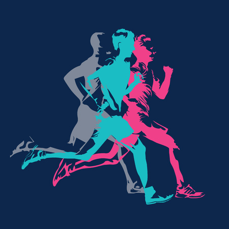 Marathon running, abstract colorful silhouettes of adult runners, vector poster