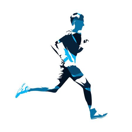 抽象的なブルー ランニング男シルエット、アクティブなティーンエイ ジャー  イラスト・ベクター素材