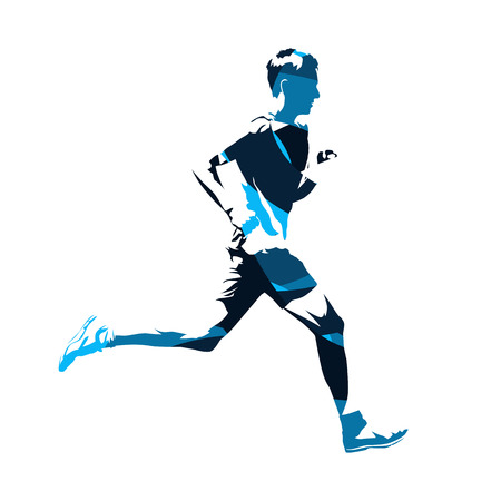 Abstract blue running man silhouette, active teenager