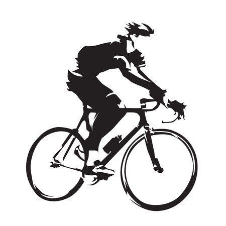 Cycling theme, vector silhouette of road cyclist, side view