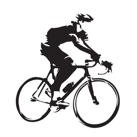Motyw rowerowy, sylwetka wektor rowerzysty szosowego, widok z boku