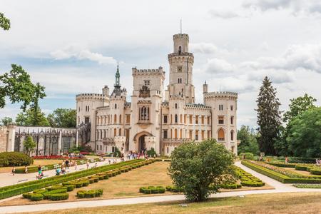 フルボカ nad ブルタバ ホワイト バロック様式の城、チェコ共和国、ヨーロッパ 写真素材