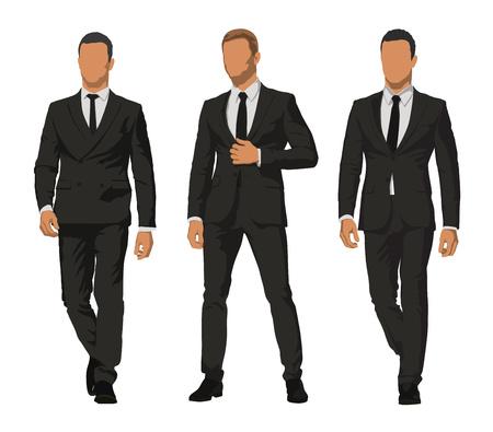 Gens d'affaires, ensemble de trois personnages en costumes foncés. Vue de face Banque d'images - 82310335