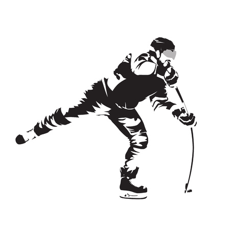 Shooting ice hockey player, abstract vector silhouette