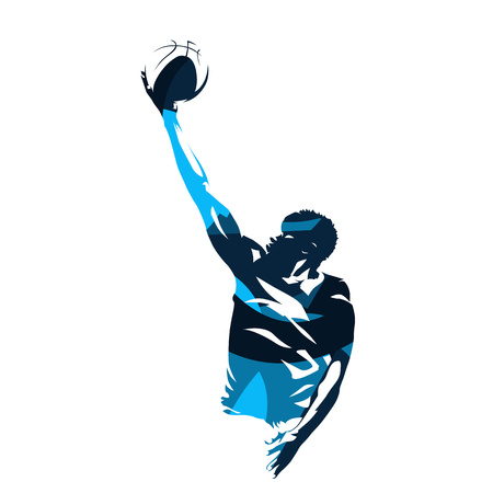 Basketball player making lay shot, abstract blue vector silhouette