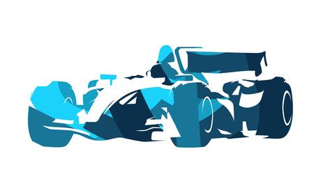 formula one: Formula racing car, abstract blue illustration