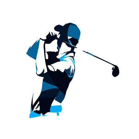 Golf player vector logo, abstract blue silhouette Ilustração