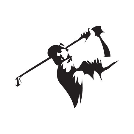 Golfer abstract silhouette, front view. Golf logo. 矢量图像