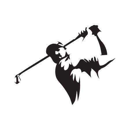 Golfista streszczenie sylwetka, widok z przodu. Logo golfa.