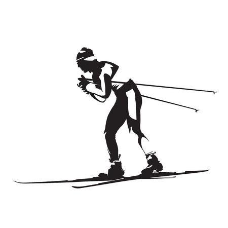 Cross-country classic style nordic skiing vector silhouette, side view