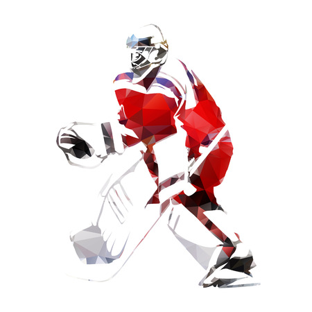 Ice hockey goalie, abstract vector silhouette