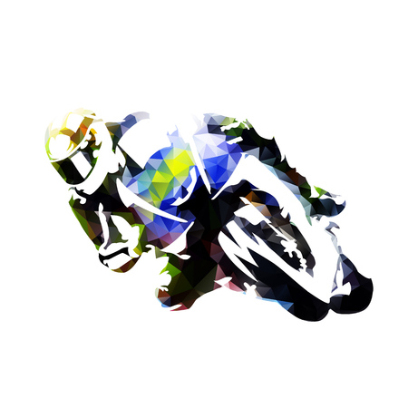 race winner: Motorcycle rider, abstract polygonal vector silhouette, front view