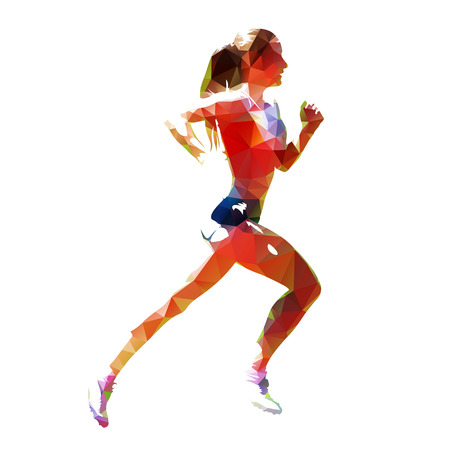 Running woman, abstract polygonal vector silhouette, side view Vectores