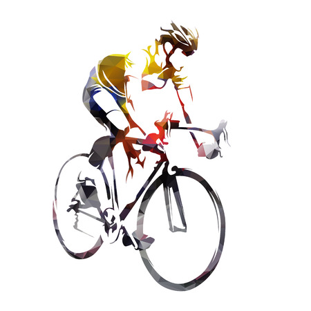 Road cycling, abstract geometric cyclist vector silhouette