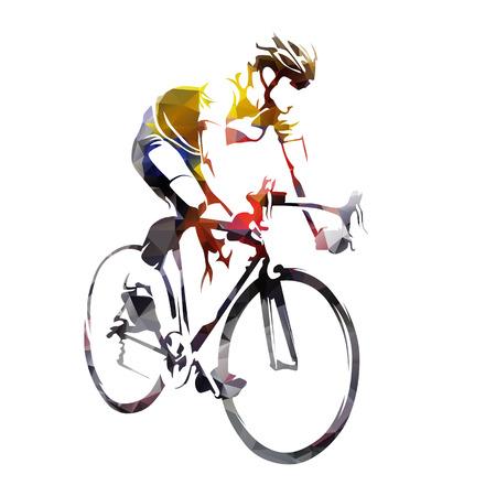 Kolarstwo szosowe, streszczenie sylwetka wektor geometryczny rowerzysta