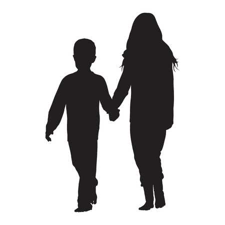Baby boy and little girl holding hands and walking forward together, childhood vector silhouette
