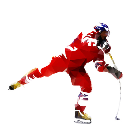 Polygonal ice hockey player, abtract silhouette Illustration