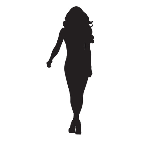 Slim woman with long hair walking forward, silhouette
