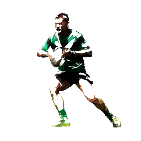Giocatore di rugby con palla, sagoma poligonale astratta, vista frontale