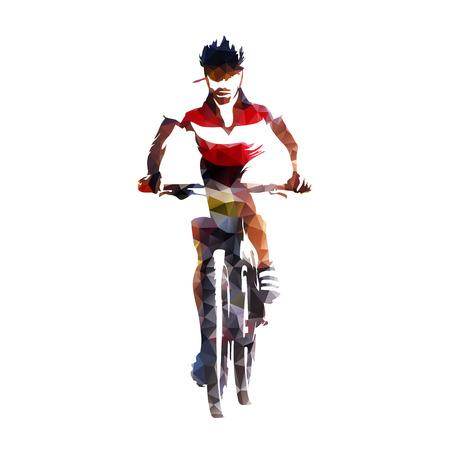 山のバイカー、抽象的な幾何学的なシルエット、レースをサイクリング