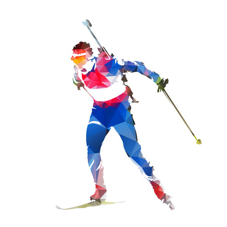 Biathlon racing, abstract geometric skier silhouette 矢量图像
