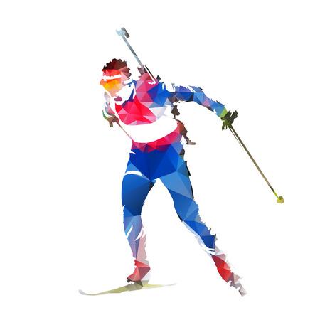 Biathlon racing, abstract geometric skier silhouette Stock Illustratie