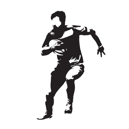 Rugby player running with ball, abstract vector silhouette, front view