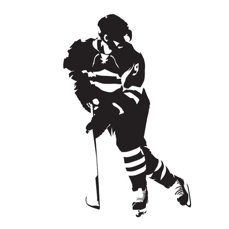 Ice hockey player, abstract isolated vector silhouette Vettoriali