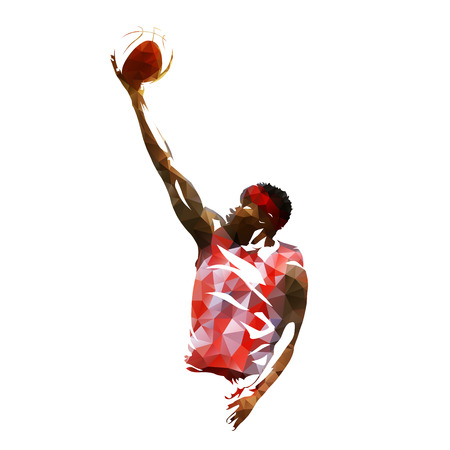 Basketball player isolated vector illustration, geometric colorful silhouette 일러스트