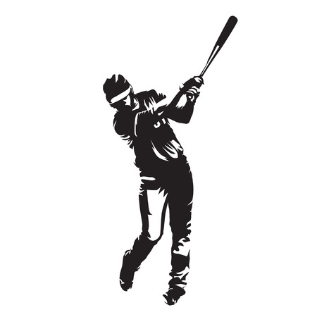 swinging: Baseball player batter, abstract vector silhouette, front view