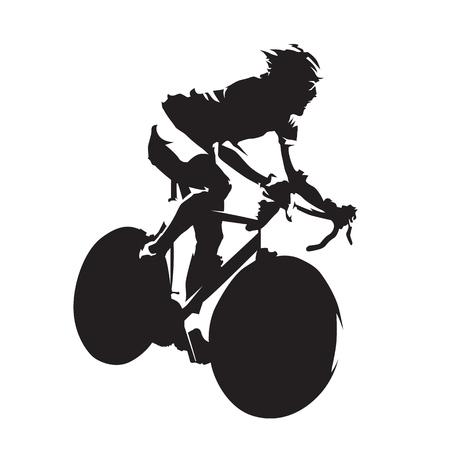 Het cirkelen wegras, abstract fietser geïsoleerd vectorsilhouet. Tijdrit