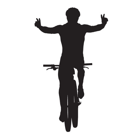 Mountain biker celebrates and crosses finish line, vector silhouette. Cycling race Vettoriali