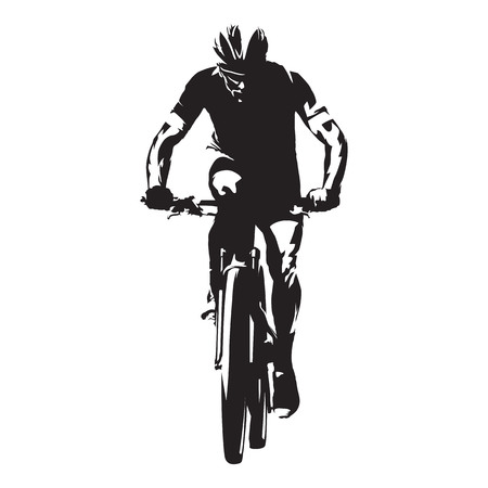 Cycling. Mountain biker isolated vector silhouette. Front view