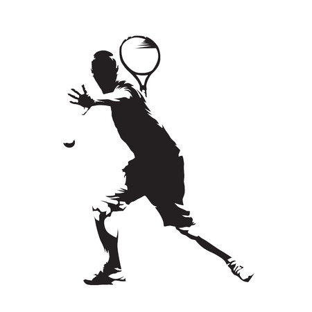 Tennisspeler, abstract vector geïsoleerd silhouet