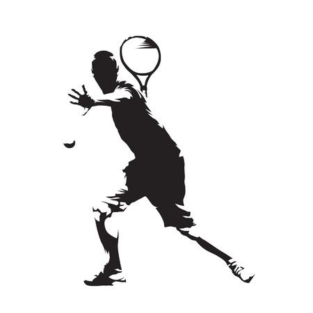 Tennisspeler, abstract vector geïsoleerd silhouet