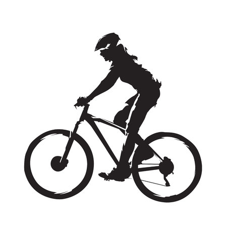 Woman riding mountain bike, cycling abstract silhouette, side view.