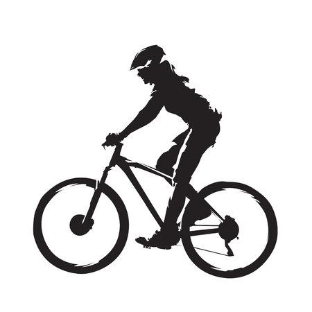 Mulher andando de bicicleta de montanha, ciclismo de silhueta abstrata, vista lateral.