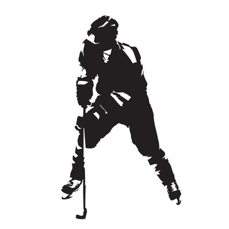 hockey goal: Ice hockey player skating with puck, abstract silhouette. Illustration