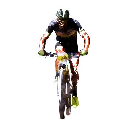 Kolarstwo górskie, ilustracja wektorowa streszczenie geometryczne rowerzysta