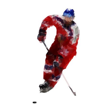 hockey goal: Ice hockey player, polygonal vector illustration