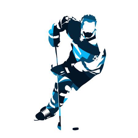 Ijshockey speler schaatsen met puck, abstract blauw vector silhouet Stock Illustratie