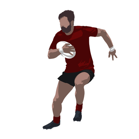 Rugby player holding ball and running, vector illustration