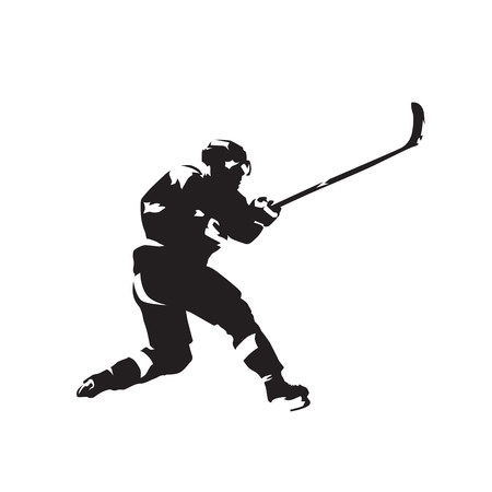 Ice hockey player skating and shooting, isolated vector silhouette
