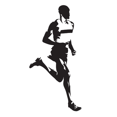 Running man, abstract vector silhouette Çizim