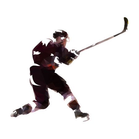 Ice hockey player, abstract geometric isolated vector illustration