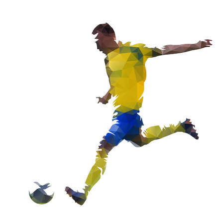Soccer player, abstract low poly vector illustration
