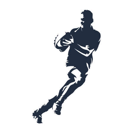 Rugby player with ball, abstract vector silhouette Ilustração