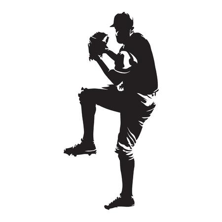 野球選手、ボール、抽象的なベクトル シルエットを投げる投手