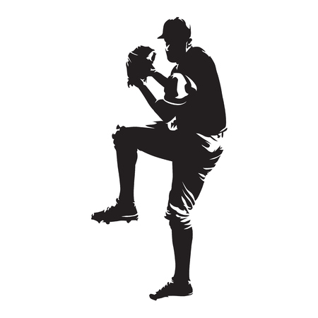 Baseball player, pitcher throwing ball, abstract vector silhouette Stock Illustratie